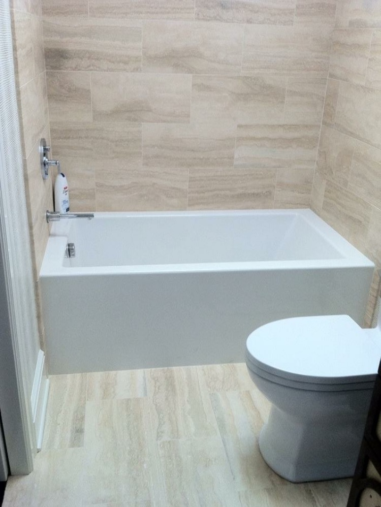 Beige Travertine Tub Walls And Floor Tile Stone Techniques