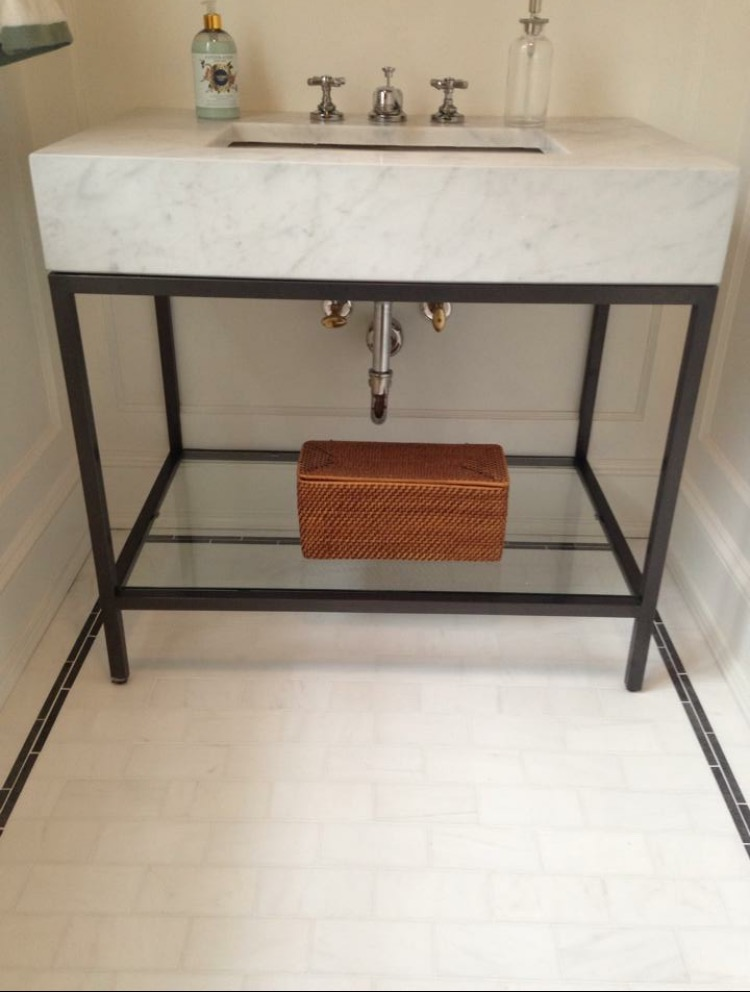 Custom 6 Inch Mitered Marble Vanity With Marble Floor Tile Stone