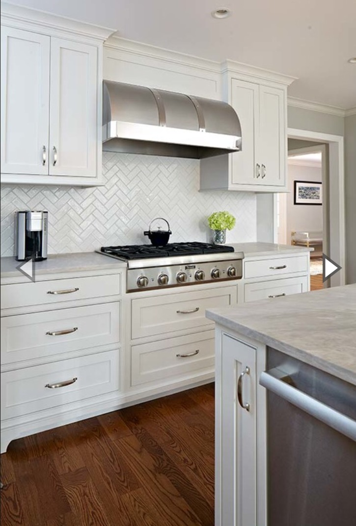 Handmade White Ceramic Herringbone Backsplash Tile